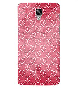 ColourCraft Beautiful Hearts Pattern Design Back Case Cover for OnePlus Three