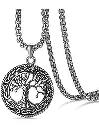 310c170b9b9e Flongo Herren-Kette Männer Anhänger, Edelstahl Halskette Kette Silber Gold  Hohl Baum des Lebens