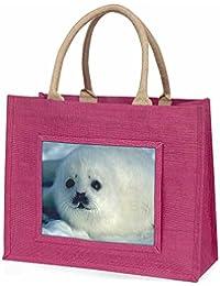 Snow White Sea Lion Large Pink Shopping Bag Christmas Present Idea