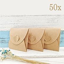 JZK 50 x Marrón papel kraft sobres caso caja para CD DVD instantáneas fujifilm fotos favores bolsas favor fiesta para boda cumpleaños baby shower graduación navidad