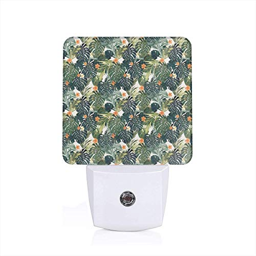 Hawaiian Summer Aloha Pattern With Tropical Plants And Hibiscus Flowers Plug-in LED Night Light Lamp with Dusk to Dawn Sensor, Night Home Decor Bed Lamp Hibiscus Night Light