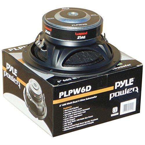 Pyle PLPW6D Subwoofer, 300 Watt RMS, 600 Watt max., Durchmesser: 16,50 cm (6,5 Zoll), DVC-Woofer mit Doppelschwingspule, 4 + 4 Ohm, hervorragend für das Auto oder den heimischen Gebrauch (Subwoofer Dvc)