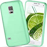 moex Samsung Galaxy S5 Mini | Hülle Silikon Grün Brushed Back-Cover TPU Schutzhülle Ultra-Slim Handyhülle für Samsung Galaxy S5 Mini Case Dünn Silikonhülle Rückseite Tasche