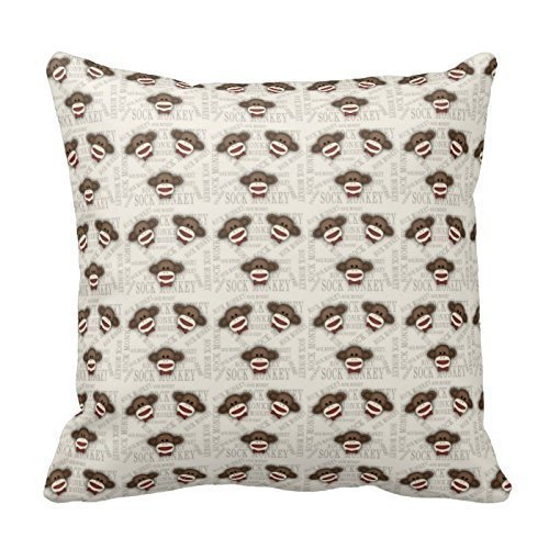 TEPEED Q2 Adorable Sock Monkey Cotton Linen Square Throw Pillow Case Shell Decorative Pillowcase 18