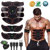 Electroestimulador Muscular Abdominales Cinturón,Masajeador Eléctrico Cinturón con USB,Entrenador Inalámbrico Portátil de 6 Modos de Simulación,10 Niveles Diferentes para Abdomen/Cintura
