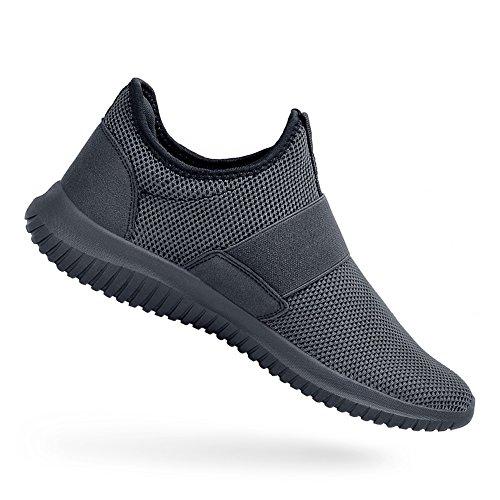 ZOCAVIA Sportschuhe Slip on Leicht Laufschuhe Sneaker Atmungsaktiv Freizeitschuhe Damen Herren Dunkelgrau 38 EU