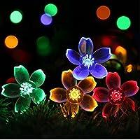 Colibrí® Tira de LEDs Guirnaldas de 50 Flores Silicona Color Neutro y Multicolor Recargable SOLAR 7metros Para Exterior e Interior, decoración ideal para jardín, escaparate y fiestas. [Clase de eficiencia energética A+++] (Multicolor)