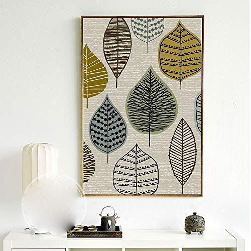 zlhcich Einfache kreative abstrakte Blattdekoration Ölgemälde 03 Malerkern 60x80cm