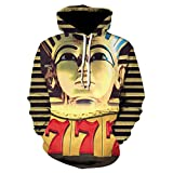 Jonyn Unisex 3D Druck Hoodies Kapuzenpullover Langarm Pullover Kapuzenpulli Sweatshirt Kapuzenjacke Pharao S-3XL
