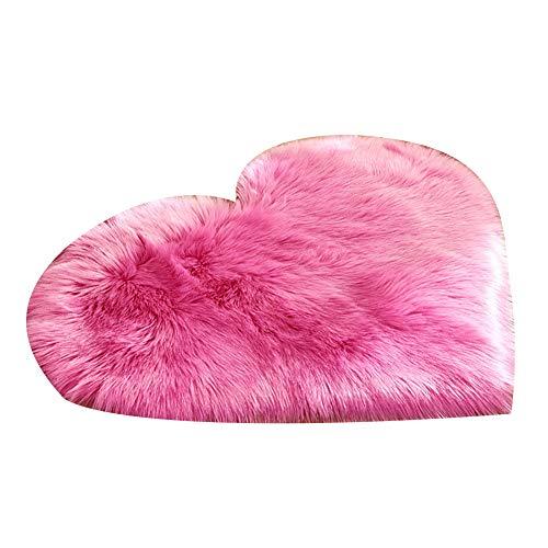 jasminelady Einfarbig kreative Herzform plüsch Teppich rutschfeste Teppich tür Matte Startseite Nacht dekor Dark Pink (Plüsch-teppich-matte)