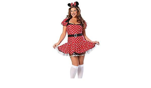 Ladies Plus Size Disney Minnie Mouse Costume Fancy Dress Womens ...