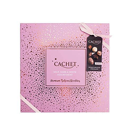 Cachet Sortiment belgische Pralinen 315g - Milch Schokolade, Weiße Schokolade und Zartbitterschokolade - Geschenk Box