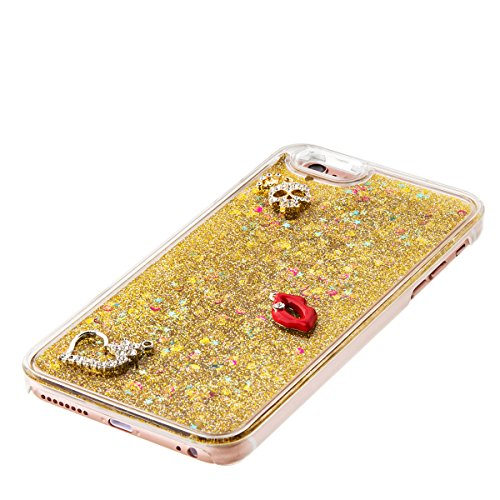 iPhone 6S Plus Hülle, iPhone 6 Plus Hülle, Gift_Source [ Gold & Engel Krone ] Schutzhülle harte plastik Schutz Handy Hülle Case, Creative 3D strom flüssiger durchdrungen von glitzer und sterne Hülle C E1-Gold & Red Lippen