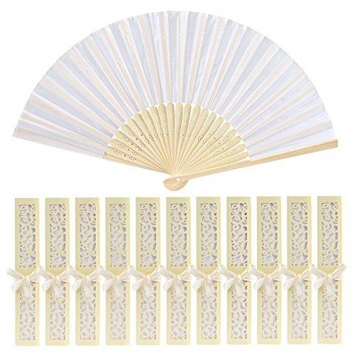 GWHOLE 12 x Abanico Plegable de Mano Tela Regalo Recuerdo Detalle para Invitados de Boda Fiesta o Baile Arte Madera con Caja Papel para Guardar (Blanco)