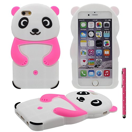 iPhone 7 Plus Coque, Prime Doux Silicone Plastique 3D Charmant Panda Forme Serie Housse de Protection Case pour Apple iPhone 7 Plus 5.5 inch avec 1 stylet rose