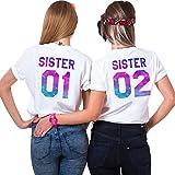 Best Friend Shirt Cotone Coppia T-Shirt Stampa Sister 01 02 Minica Corta Magliette Migliori Amiche Girocollo Colorato per 2 Donne Estate(Bianco+Bianco,01-XS+02-XS)