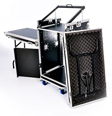 NSP Cases 16u DJ Workstation Flight Case Rack with Side Tables and 10u Mixer Slant