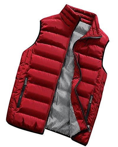 PengGeng Hombre Invierno Calor Chalecos Sin Mangas De Plumas Chaquetas Acolchado Cazadoras Rojo L