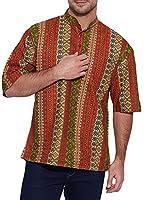 Shalinindia Men Cotton Printed Short Kurta Mandarin Collar ,Multicolored-48 Inch