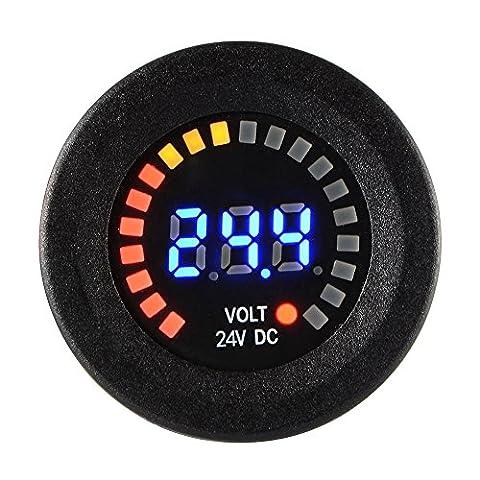 XCSOURCE® Auto Motorrad wasserdichte blaue LED Digital Verkleidung Anzeige Voltmeter Spannungs Volt Messinstrument Meßinstrument Schwarzes DC 24V MA1029