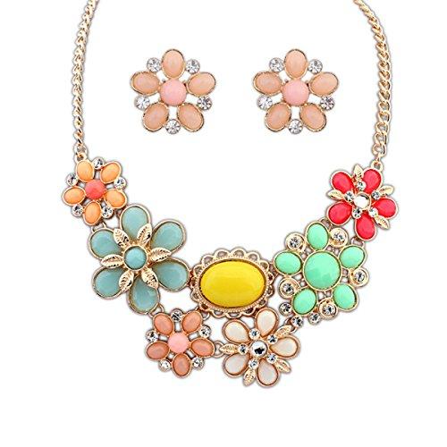 Mode Ruili Sauvage Bohème Style Grande Fleur Collier Boucles D'oreilles Costume pink