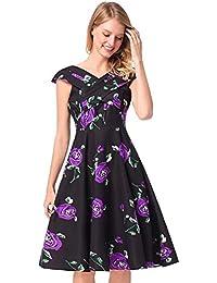 f72b436ea4 Mujeres con cuello en v de cintura alta manga casquillo Floral vestido de  oscilación Dulce Rose