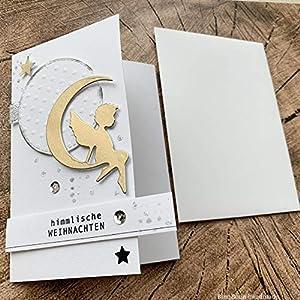 8 personalisierte Weihnachtskarten mit Umschlägen Weihnachtsgrüße Karten Grußkarten glückliche Weihnachten Christmas Greeting Card Engelchen im Mond Gold Pailletten Handarbeit binnbonn