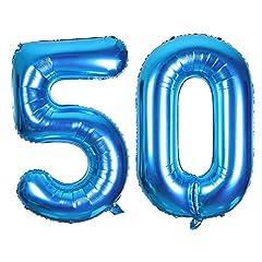 Idea Regalo - SMARCY Palloncini 50 Anni Palloncino per la Decorazione del 50 ° Compleanno (Blu)