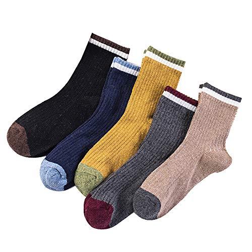 Gestreifte Low-cut-socken (L-MEIQUN,10 Paar Männer Wolle Verdicken Einfarbig Freizeit Einfache Stil Komfortable Low Cut Socken(Color:Farbabstimmung,Size:Gemischt))