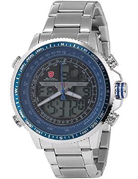 Shark Herren Armbanduhr XXL LCD Digital/Analog Weckerfunktion Edelstahl Uhrband SH326