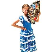 La Senorita Vestido Flamenco Español Traje de Flamenca chica/niños azul blanco (Talla 8, 116-122 - 80 cm, 6/7 años, azul)