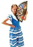 La Senorita Vestido Flamenco Español Traje de Flamenca chica/niños azul blanco (Talla 8, 116-122 -...