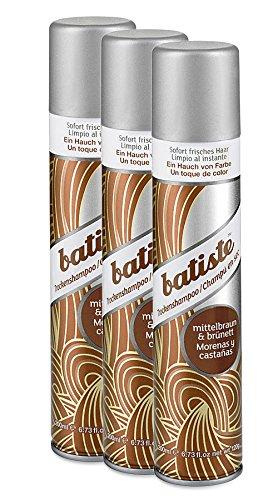Batiste Trockenshampoo Dry Shampoo Beautiful Brunette mit einem Hauch von Farbe für brünettes Haar, Frisches Haar für alle Haartypen, 3er Pack 2+1 (3 x 200 ml)