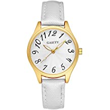 Gaiety Women's Easy Red Arabic Numbers Dial Gold Tone Wrist Watches Leather Strap Analogue Quartz Gaiety G051 (White)