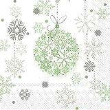 AvanCarte GmbH Servietten Weihnachten Winter Grüne Schneekugeln 20 St 3-lagig 33x33cm