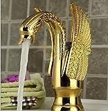 El nuevo Sunsui elegante todo de latón chapado en oro cisne lujoso baño de agua caliente y fría, lavabos de banco MEZCLADOR DE CUENCA