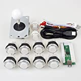 EG Starts Arcade DIY Kits Parts USB Encoder To PC Games 5Pin Joystick + 2x 24mm + 8x 30mm 5V LED Illuminated Push Buttons For Arcade PC Game Consoles Mame Raspberry pi 2 3 Controllers & White