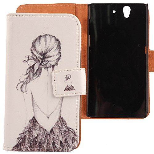 Lankashi PU Flip Leder Tasche Hülle Case Cover Handytasche Schutzhülle Etui Skin Für Sony Xperia Z L36H C6603 Back Girl Design (Sony Xperia Z L36h Zubehör)