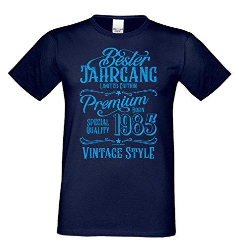 Herren Kurzarm T-Shirt als Geschenk zum 33. Geburtstag Bester Jahrgang 1985 Geburtstagsgeschenk Männer Farbe: navy-blau Gr: XXL
