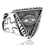 SAINTHERO da Uomo, Anelli in Acciaio Inox Gotico Vintage Triangle Illuminati The all-Seeing-Eye Piramide Biker Anelli, Misura 7-13 e Acciaio Inox-Argento, 7, cod. HEROBRRING1107