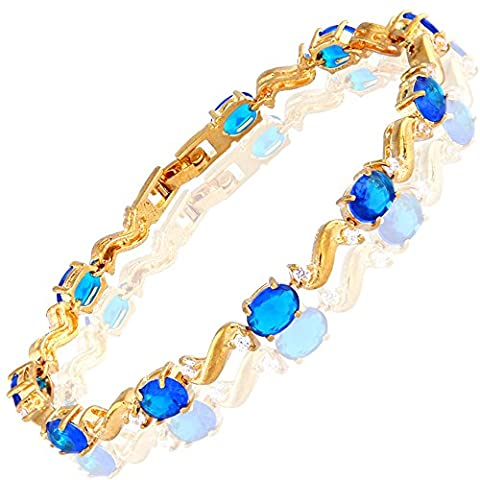 Rizilia Jewellery Oval Cut Blue Sapphire&White Topaz Birthstone Gemstone Fine