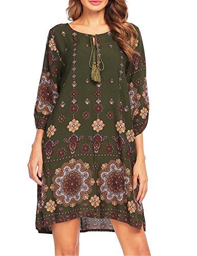 Beyove Damen Bohemian Tunika Strandkleid Minikleid Vintage Strandtunika Herbst A-Linie Kleid Vier Jahreszeiten Baumwolle Lose 3/4-Arm Rundhals (A+grün, EU 40(Herstellergröße: L))