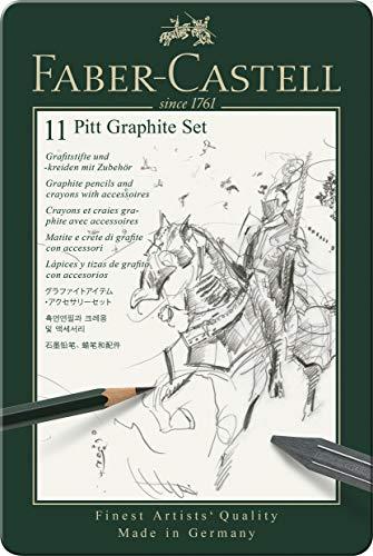 Faber-Castell 112972 - Estuche de metal con 11 piezas, ecolápices Castell 9000, barras de grafito, grafitos puro y accesorios, monocrome