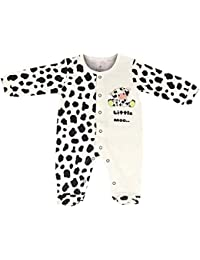 FLYBEES Baby Sleepsuit Unisex, Extra soft to keep Baby Warm & Cosy – 100% Tested Cotton, Half White With Print - Comfort Fit, 0 months to 12 month