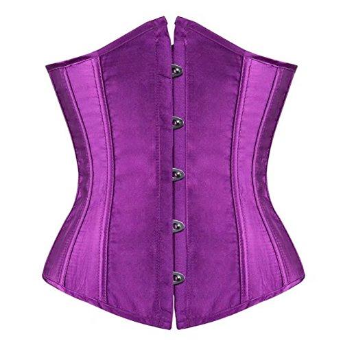 Donna Floreale Allenamento Vita Corsetto underbust bustino sottoseno Modellante Intimo Purple