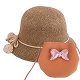 YOPINDO Bébé Paille Chapeau d'été Filles Chapeau Sac à Main Plage Plage Disquette Chapeaux Enfants Chapeau de Soleil avec Sac (Marron)