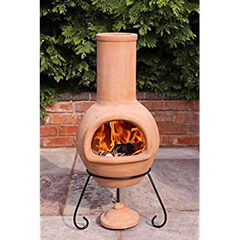 Classic Design Outdoor Portable Clay 110 cm H x 45 cm W x 45 cm D Materials: Steel, Color: Red Steel Wood Chimney with Stand /& Lid Included