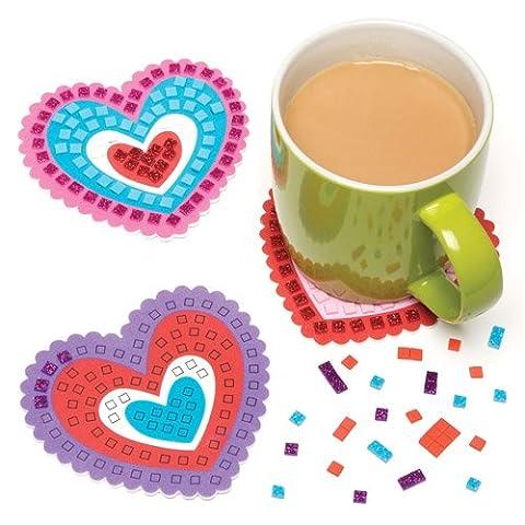 Kits de sous-verres cœur mosaïque en mousse scintillante que les enfants pourront fabriquer pour la Saint Valentin ou la fête des mères - Kit de loisirs créatifs pour enfants (Lot de 6)
