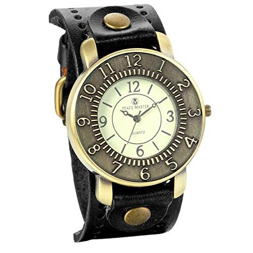 JewelryWe Retro Damen Armbanduhr, Vintage Analog Quarz Uhr mit Digital Zifferblatt @ Breit Leder Armband, Schwarz