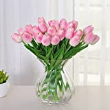 Amkun 10pcs Realistic PU Artificial Holland Tulip Flowers Life-like Faux Bouquet Arrangements for Home Kitchen Living Room Dining Table Wedding Centerpieces Decorations (Pink)